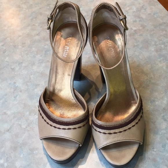 Miu miu tan leather platform sandals